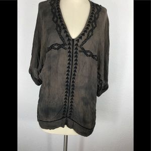 Free people short sleeve tunic blouse size medium